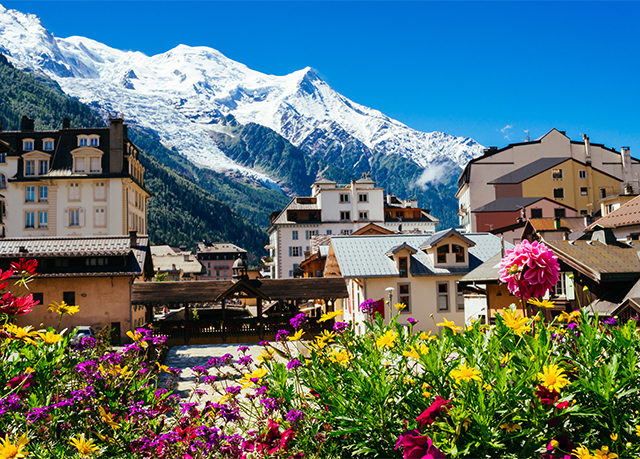 Chamonix, France with Mont Blanc mountain range